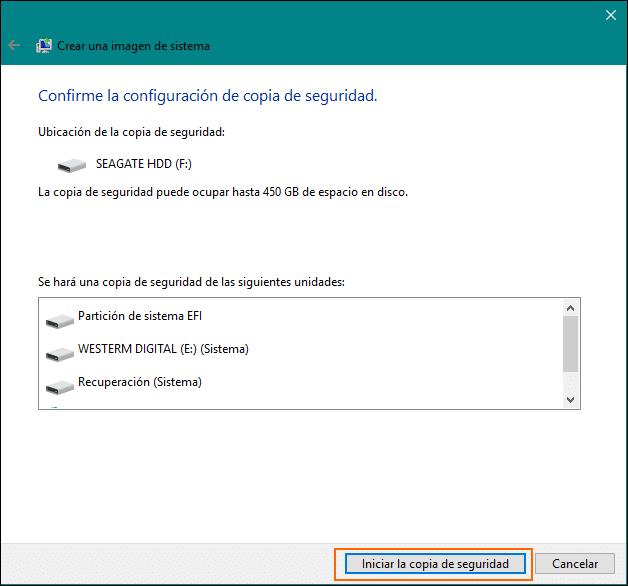 Iniciar copia de seguridad